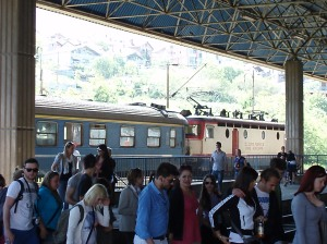 Getting off the train in Mostar