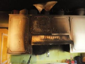 Burned up kitchen