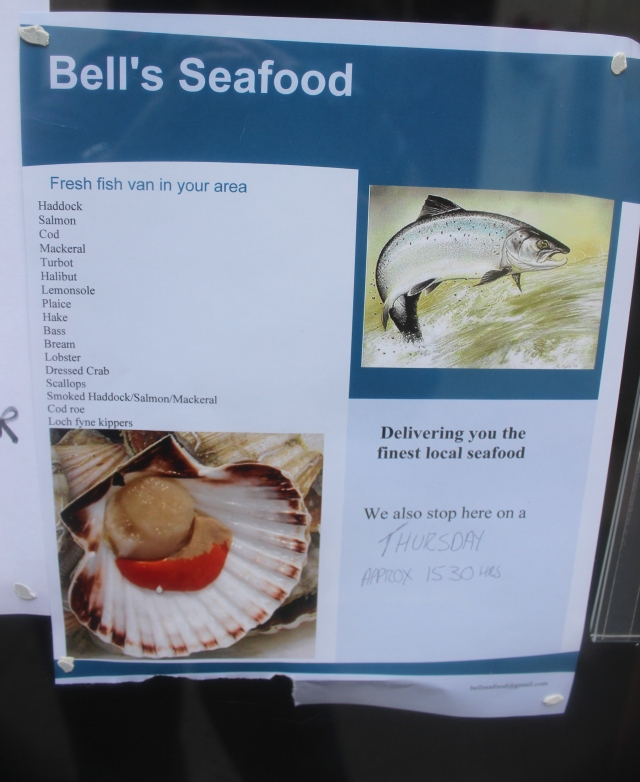 Ad for the fresh fish wagon. Stromness, Orkney.