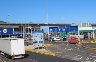 The terminal was built for heavy traffic, but there were only 12 foot passengers and a few cars on our ferry.