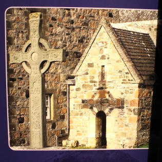 This picture (from an information board at the site) shows how the shadow of the St. John's cross falls on the holy shrine... just like those neolithic monuments on Orkney and elsewhere.