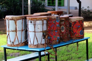Ethiopian drums, ready for the student musical show.