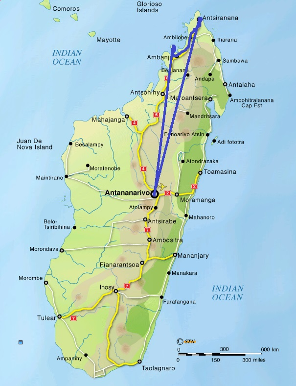 madagascar map with route