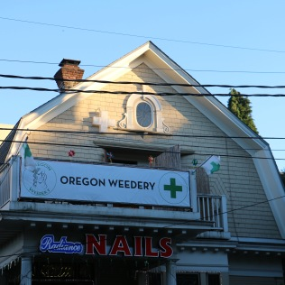 Legal weed shops are designated with a green cross