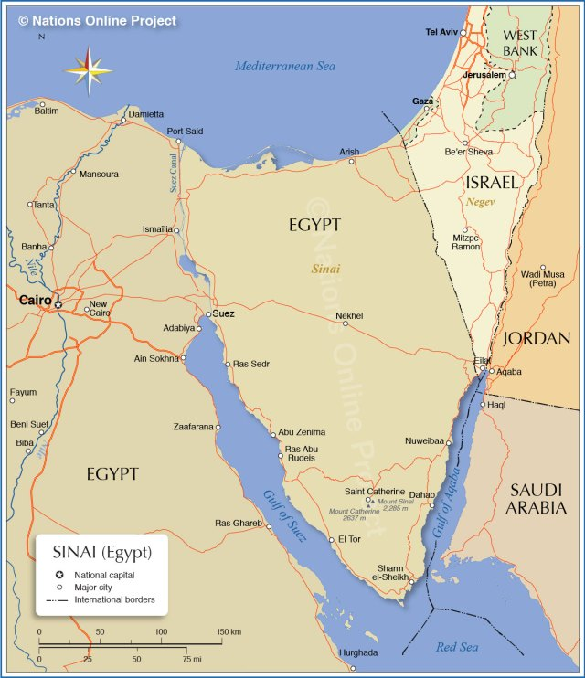 Look for Sharm el Sheikh at the southern tip of the Sinai peninsula, Dahab on the east coast north of there, then go west into the center of the peninsula for Mt. Sinai PC: http://www.nationsonline.org/oneworld/map/Sinai_map.htm